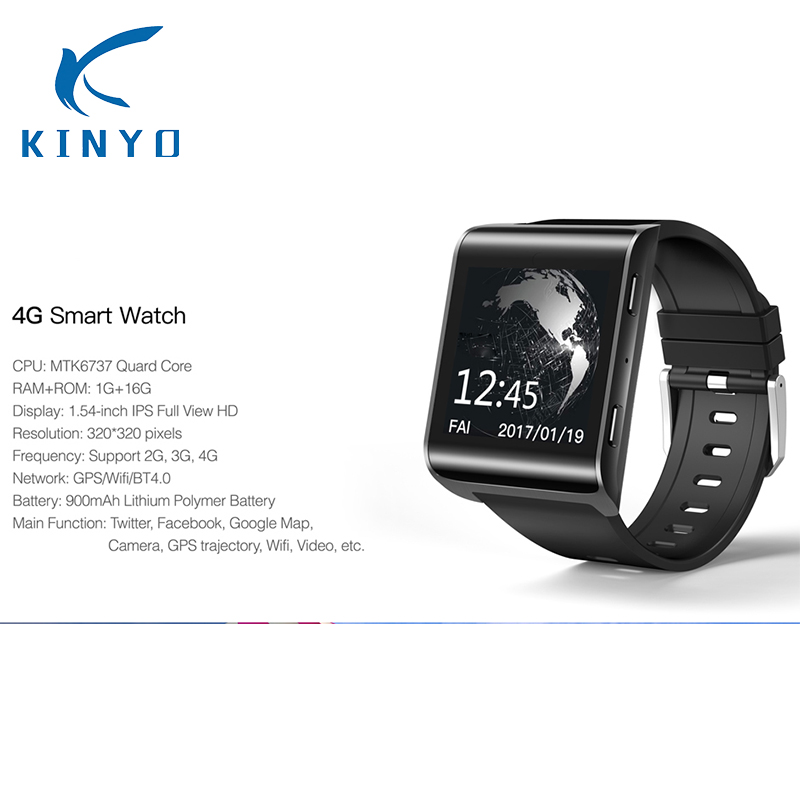 Kinyo 2018 New 4G smart watch 1.54 inch GPS Sports smartwatch phone Android 6.0 Bluetooth 4.0 Heart Rate Monitoring Pedometer dm2018 smart watch android gps sports 4g smartwatch phone 1 54 inch bluetooth heart rate tracker monitor pedometer pk kw88 dm98