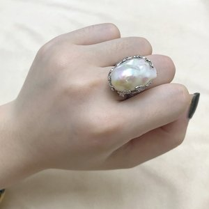 Image 5 - Baroque Original Handmade 925 Sterling Silver Baroque Pearl Ring Genuine Natural Freshwater Pearl Vintage   RV