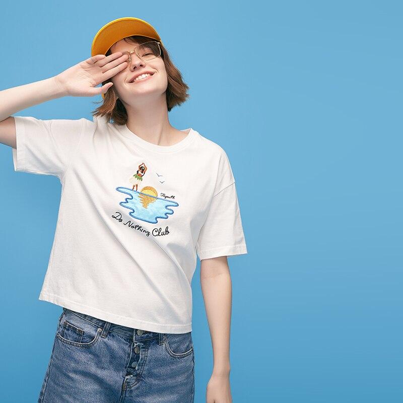 Toyouth Crop Tops Stickerei Muster Kurzarm Weiß T-Shirts Für Frauen Allgleiches Brief Oansatz Kurzarm Baumwolle T Shirt