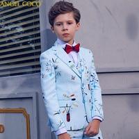 Boys Suits For Weddings Light blue print Blazers For Boys Suit Costume Enfant Garcon Mariage Kinderkleding Jongens Child Tuxedo