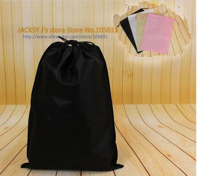 219aa330fba3 100x Eco Non Woven Black Color Shoe Bag with drawstring for travel    carrying   shopping