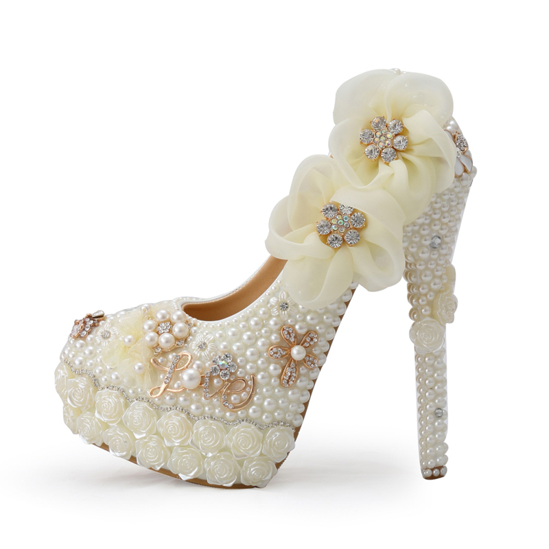 Luxurious Rose Flower Diamond Prom Shoes Wedding Shoes Sparkling Fashion White Pearl High Heel Platform Bridal Wedding Pumps fashion white lady peep toe shoes for wedding graduation party prom shoes elegant high heel lace flower bridal wedding shoes