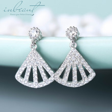 inbeaut 925 Silver Sparkling Zircon Skeleton Fan Drop Earrings Female Korean 14K Gold White CZ Sector Dangle for Women