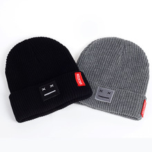 490c97e2ad3 Smiley hats knitted wool caps thick needles wool winter hats Korean version  of the smile face · 2 Colors Available