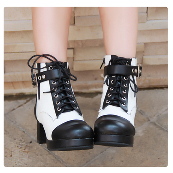 Angelic imprint New Arrival PU Leather Round Toe Punk style  Platform Booties Ankle Boots Lolita Shoes Size 35-46 8580