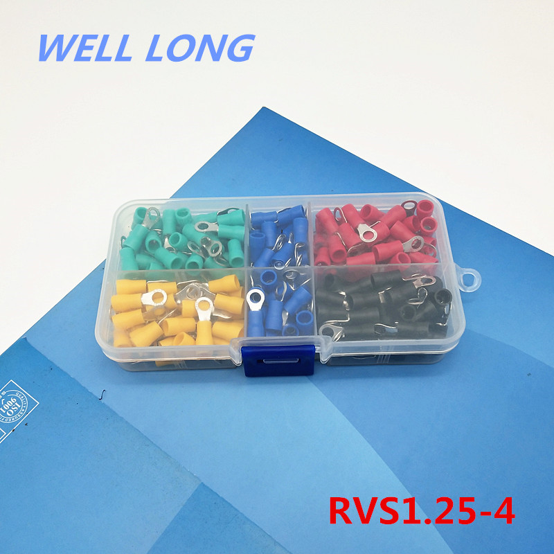 200pcs/lot RVS1.25-4 Kit Cold pressed terminal O-type connector copper nose wire terminal with sheathed copper terminal head.