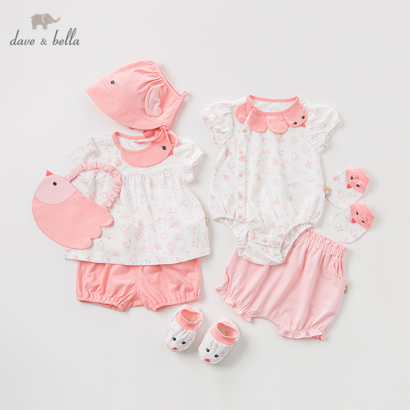 dave bella summer baby girl new born romper fashion clothing sets girls lovely sleeveless suits newborn gift sets DBH10788-G