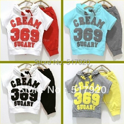 New promotion cream color 369 short sleeve hoodies+pants children summer clothing set baby suit free shipping