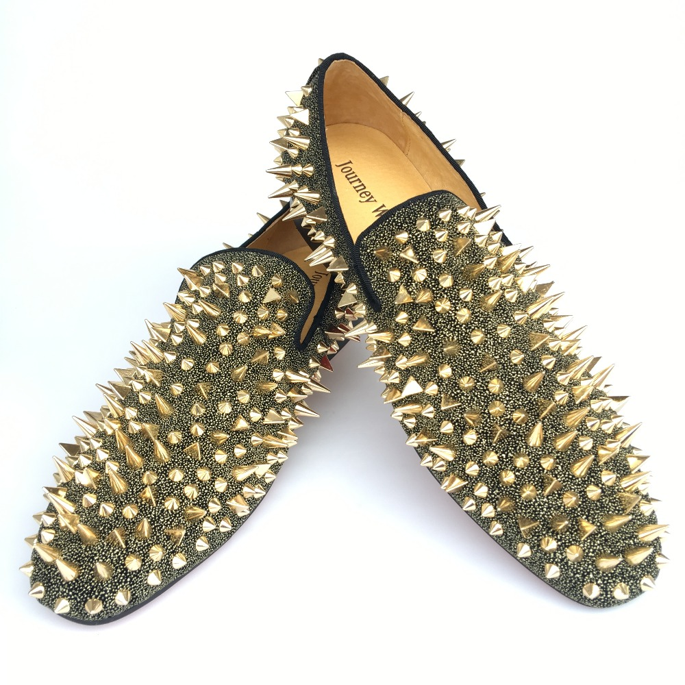 96b562df0468 New Fashion Men Party and Prom Shoes Leather Loafers with Gold ...