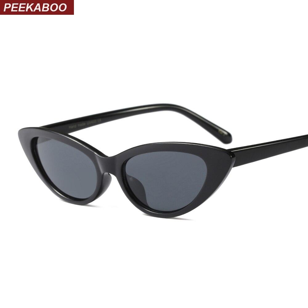 Peekaboo pequeno gato olho moda óculos de sol mulheres retro marrom preto  vermelho roxo 2018 pequenos eea29f3831