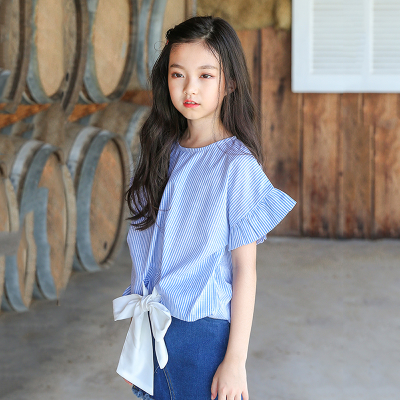 petal sleeve bow teenage baby girl school shirt withe blue striped fashion blouses for kids new 2018 summer cotton tops clothing