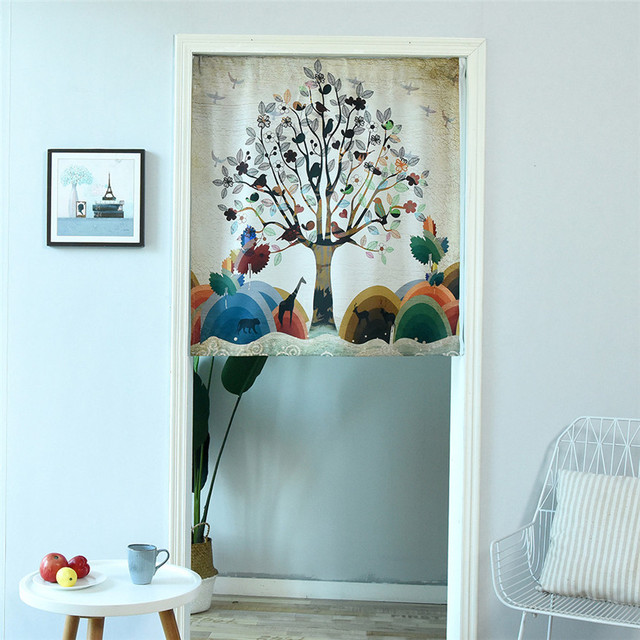 Tree Curtain For Door Cafe Restaurant Kitchen Valance Half Home Decoration