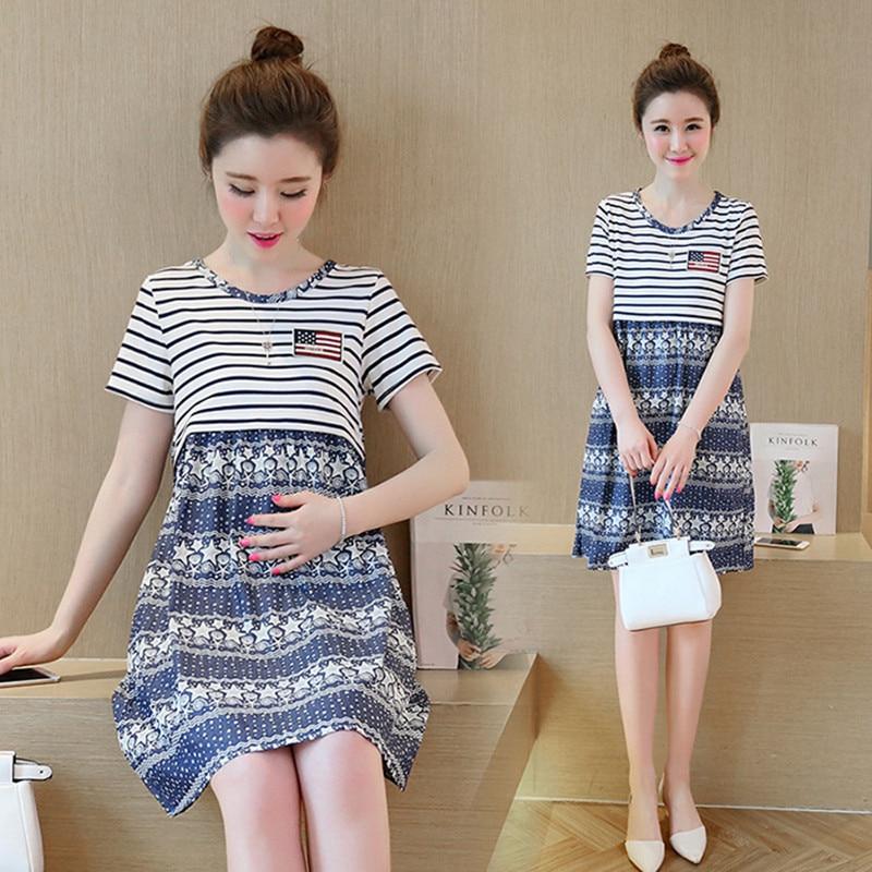 Ny mode Gratis forsendelse sommer Moderskab tøj corduroy Kjole sleepwear natkjole pleje tøj til gravide G091