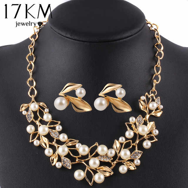 17KM Gold Color Simulated Pearl Jewelry Set for Women Crystal Flower Necklace Earring Set parure bijoux Leaf  sieraden Sets