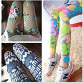2017 High Elastic Big Yards Totem Flowers Geometric Patterns Nine Women Leggings For Women Free shipping Spring