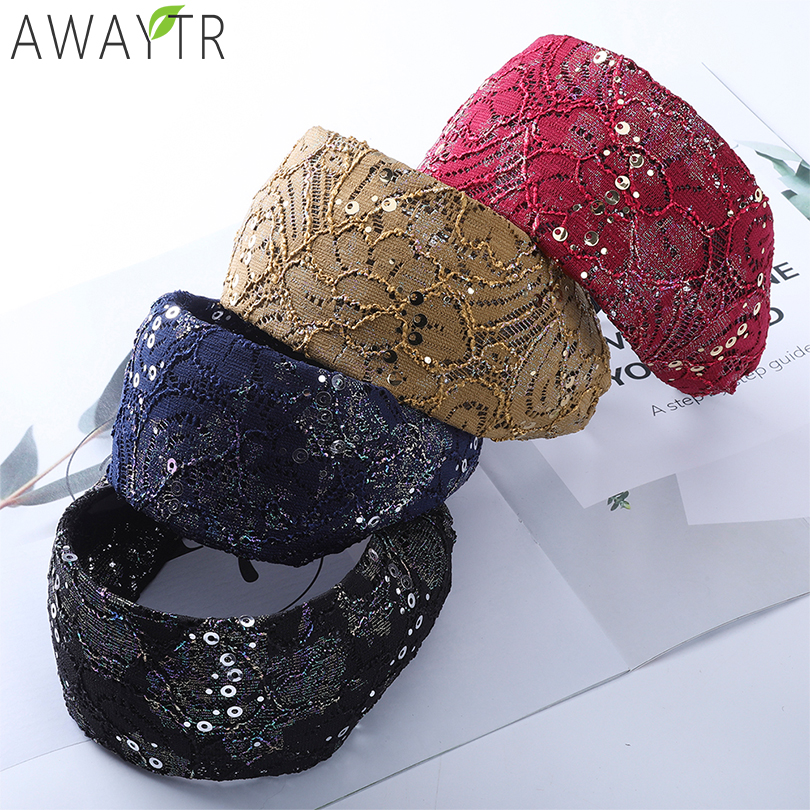 AWAYTR Fashion Wide Hairband Bohemian Sequin Solid Girl Braided Hairband Knotted Headband Customized For Women Hair Accessories