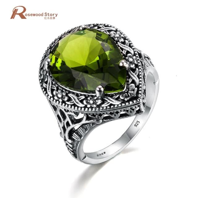 Retro 925 Sterling Silver Jewelry Heart Olive Peridot Wedding Rings