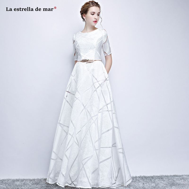 Vestido Boda Mujer Invitada2019 New Lace Half Sleeve A Line White Burgundy Silver Bridesmaid Dress Long Simple Vestido Madrinha