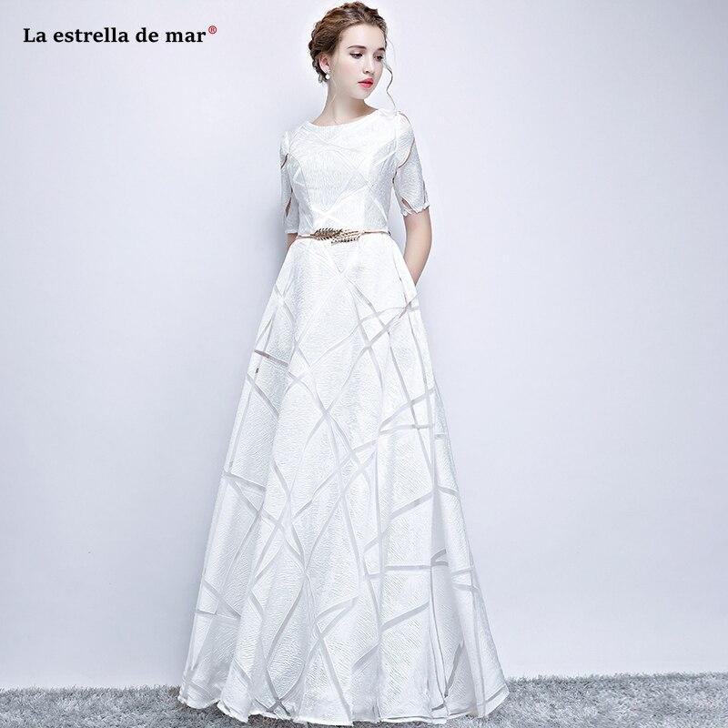 Vestido boda mujer invitada2019 new lace half sleeve A Line white burgundy silver   bridesmaid     dress   long simple vestido madrinha
