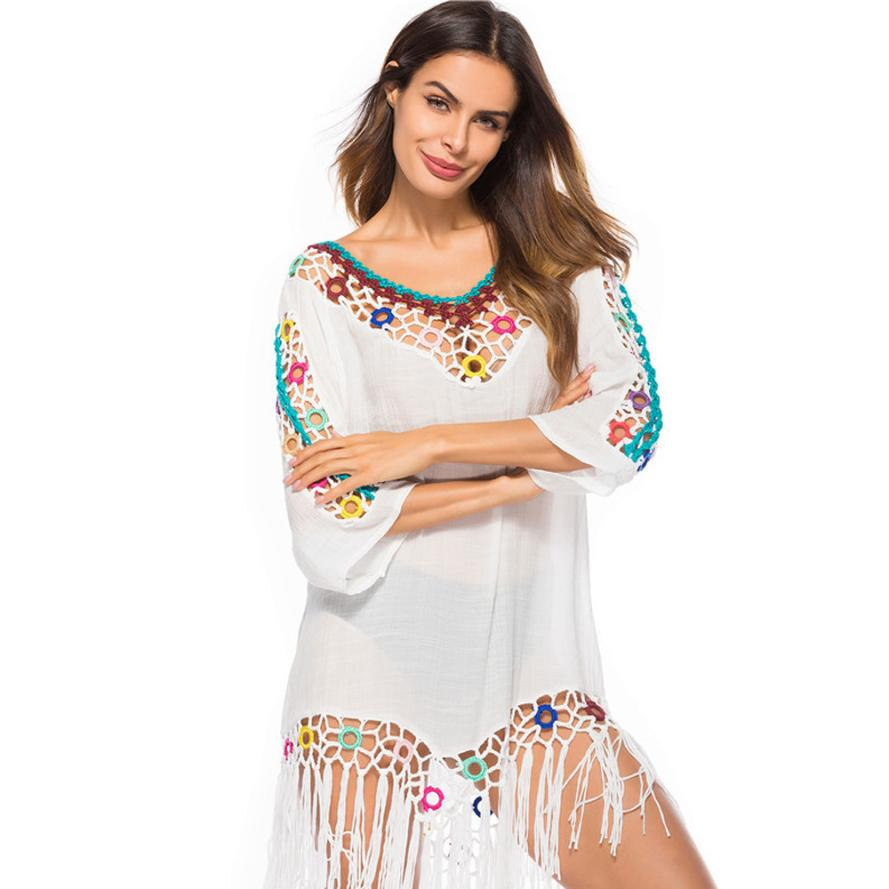 Women bikini cover up pure manual chiffon crochet knit hollow-out beach dress bathing suit swimsuit cover ups beach accessories