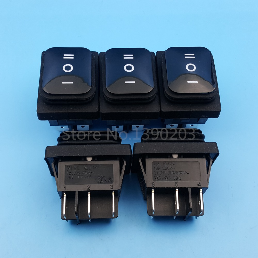 5Pcs Black RL2(P) Waterproof 6Pin 3Position DPDT Momentary (ON)-OFF-(ON) Rocker Switch 5 pieces lot ac 6a 250v 10a 125v 5x 6pin dpdt on off on position snap boat rocker switches t1404 p0 4