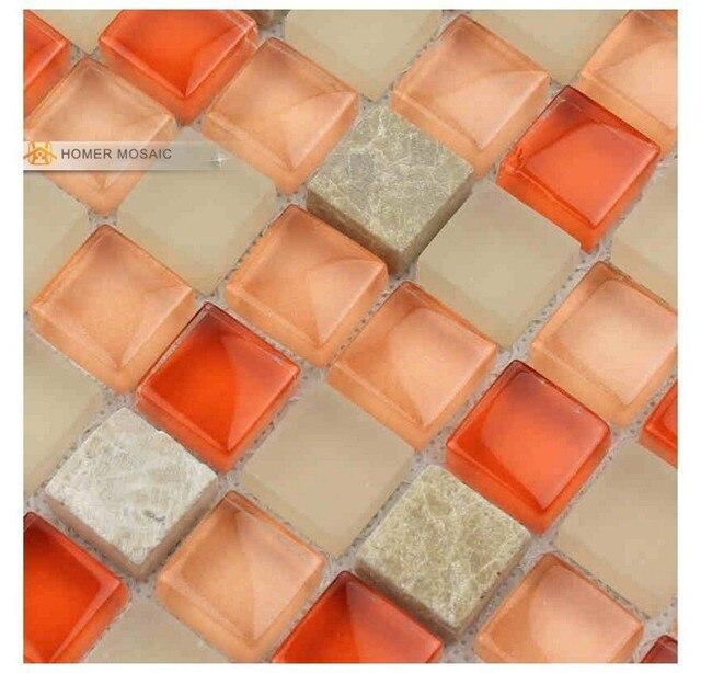 Orange mezclado glass azulejos de mosaico backsplash de la cocina ...