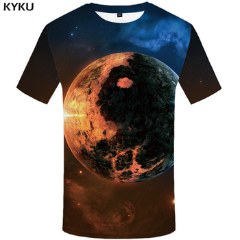 KYKU Brand Galaxy T-shirt Men Moon Tshirt Yin Yang 3d Print T Shirt Punk Rock Anime Clothes Hip Hop Space Mens Clothing Summer kyku indians tshirt men white feather t shirt hip hop anime clothes character 3d print t shirt punk rock mens clothing summer