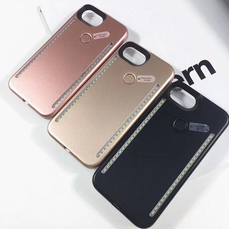 3rd Generation LED Selfie Case For iPhone X 6 6s 7 8 Plus 5 5s Cover Protective Shell 1st G for Samsung Galaxy S6 S7 E S8 Plus