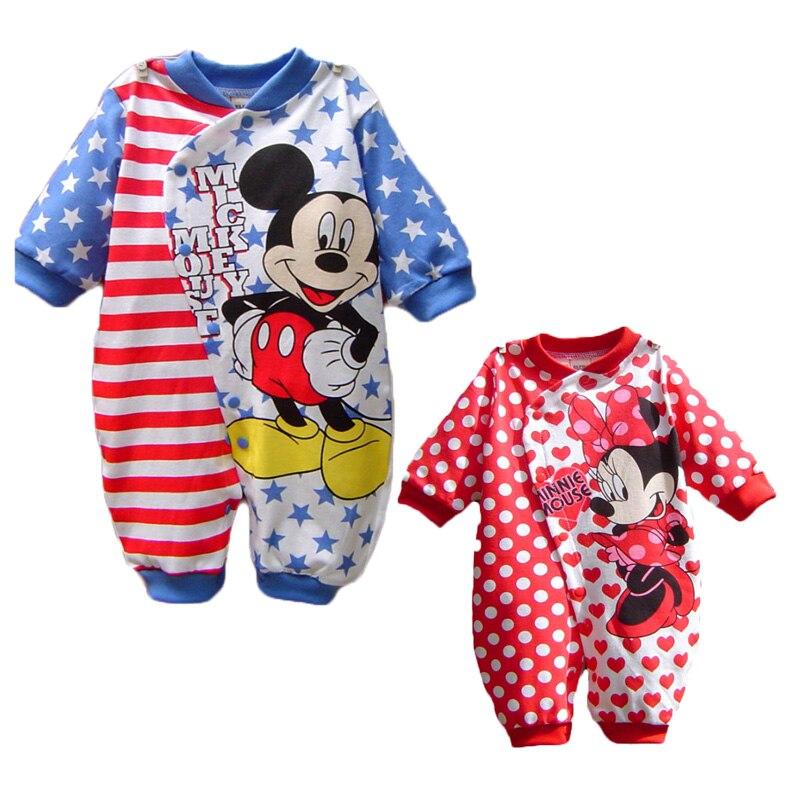Disney Baby Rompers Roupas Mickey Menino Da Menina Da Criança Roupa Bebe Roupas Minnie Bebê Recém-nascido Roupas de Algodão Macacões Infantis