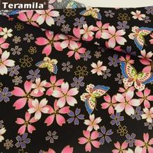 Teramila Cotton Gold Foil Linen Fabric Dark Black Sewing Tablecloth Curtain Printed Floral Design Patchwork Textile Decoraion