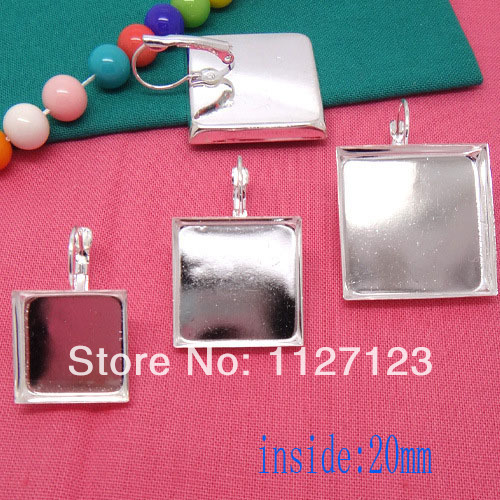 Free ship!200pcs 20mm square cameo base cabochon setting earwires leverback bezel earring blank tray findings nickel free