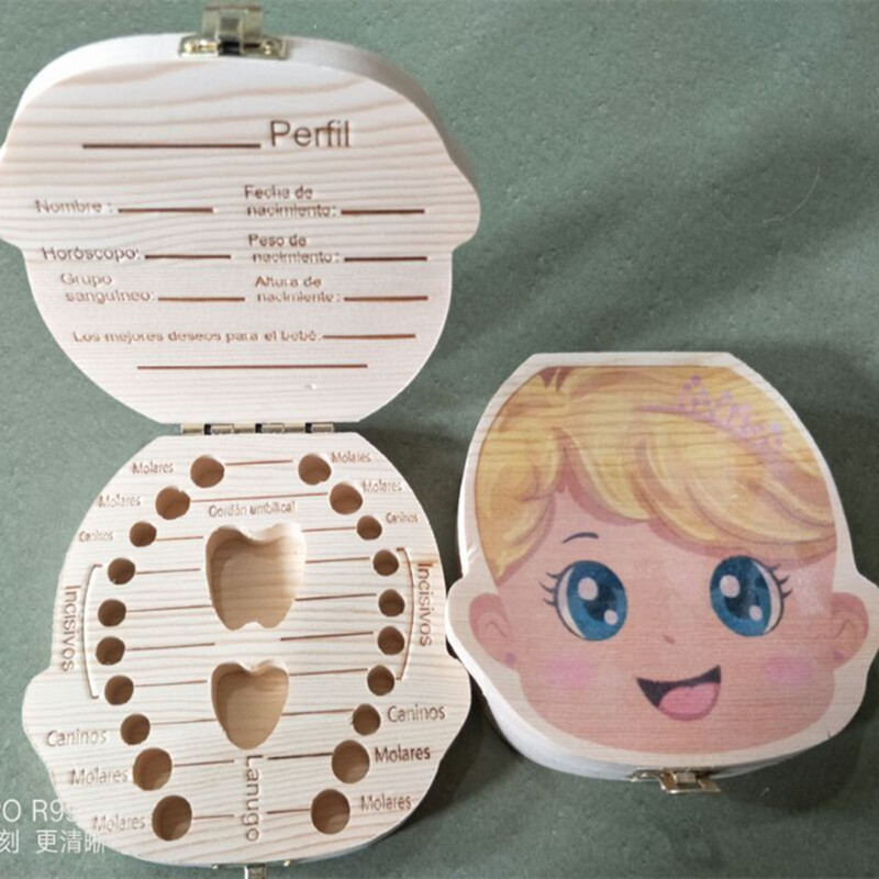 Log Painted Baby Tooth Boxes Baby Hair Umbilical Cord Souvenir Boxes Baby Tooth Collection Boxes Baby Souvenirs