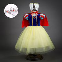 Fashion Tutu and Velvet Patchwork Princess Snow White Carneval Costumes Kids Party Cartoon Dresses for 2 To 11 Years Old Girls