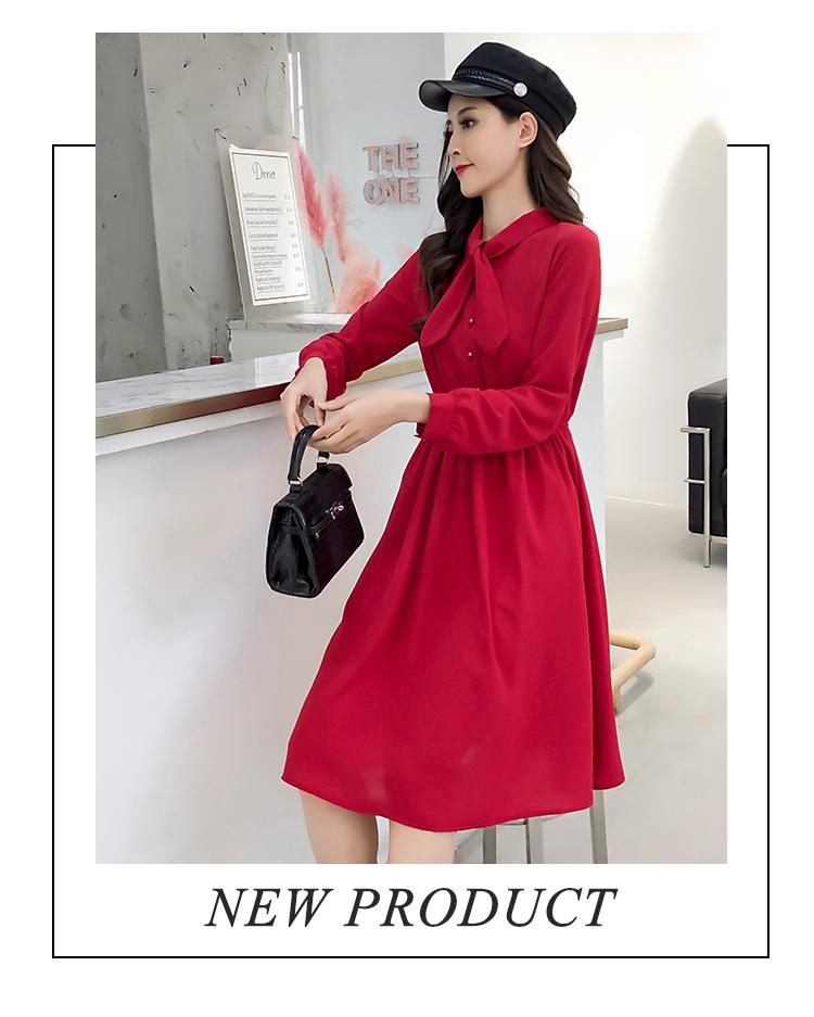 fashion bow collar women dresses party night club dress 2019 new spring long sleeve solid chiffon dress women clothing B101 7