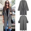 2016 Women Casual Loose Lapel Windbreaker Cape Coat Solid Linen Cardigan Loose Thin Long-sleeved Bunker Long Trench Coat Female