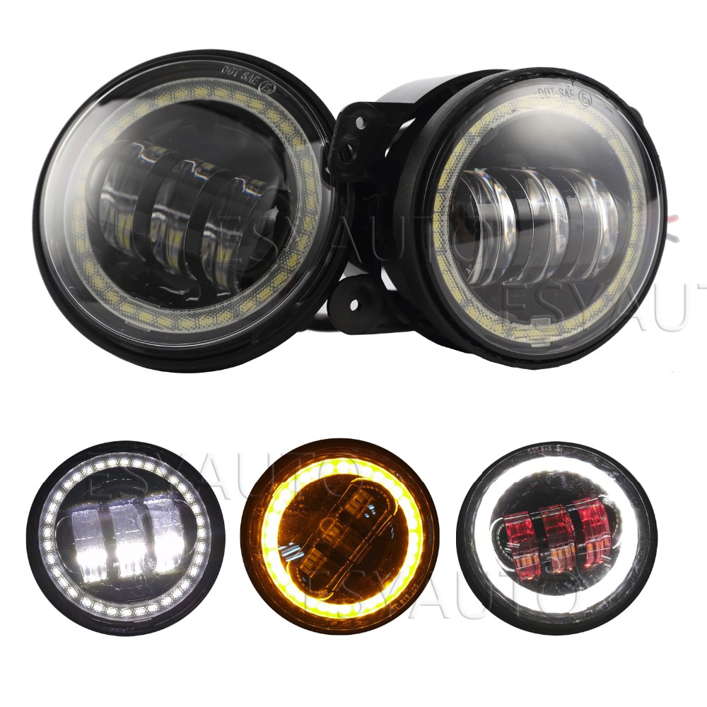 New! 2pcs white DRL 4.5inch LED Motorcycle Fog Light with Red Demon Eye & Amber/Yellow Turn Signal Eye for harley Davidson