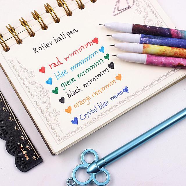 Jonvon Satone 60 Adet (10 takım) sevimli Kalemler 0.38mm Jel Kalemler Yıldızlı Yıldız Çocuk Için Jel Kalem Siyah Mürekkep Dolum Ofis Okul Malzemeleri Hediyeler