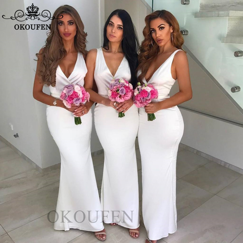Fashion White Long Mermaid   Bridesmaid     Dresses   For Women 2019 Deep V Neck Lace Up Back Party   Dress   Maid Of Honor Gown Wholesale