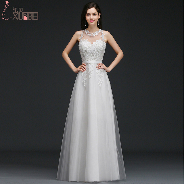 A line 2017 Simple Cheap Wedding Dresses Sleeveless Lace Appliques ...