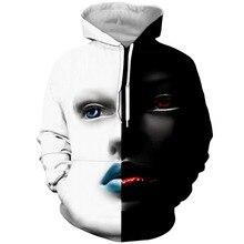 PLstar Cosmos 2019 Funny Black White Girl 3D Print Fashion Hoodies Women/Mens Casual Face Hooded Sweatshirt Tee Tops