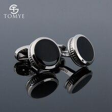 TOMYE Mens Cufflinks High Quality Silver Round Black Enamel Arabic Oem Cuff Links Studs Custom Men XK19S083