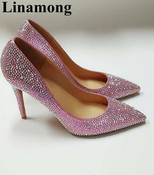Hottest Pink Color Pointd Toe And Thin High Heel Bling Crystal Spring And Summer Classic Fashion Women Sandals High Quality