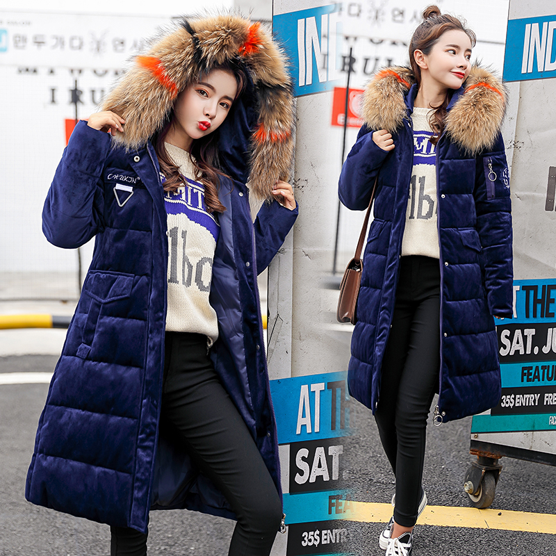 2018 New Arrival Women Winter Jacket With Big Fur Collar Hooded Oversize Female   Parka   Cotton Warm   Parkas   Coats Long Velvet Coat