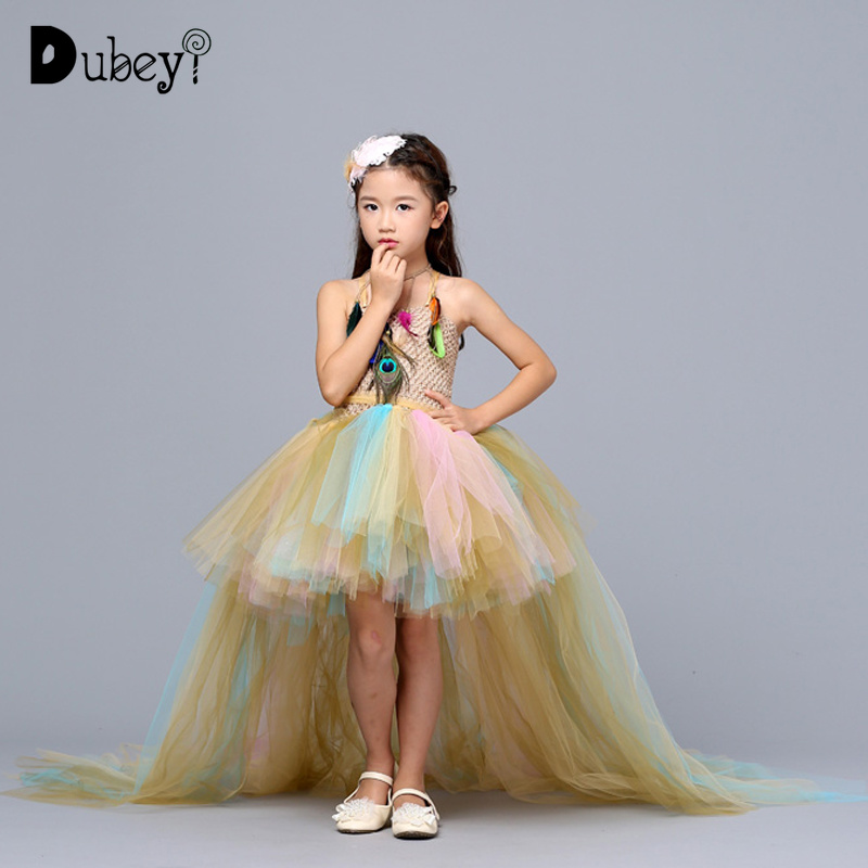 Feather Tutu Dress Elegant Trailing Prom Dresses for Girls 10-12 Years Dress Up Costumes for Evening Carnival PartyFeather Tutu Dress Elegant Trailing Prom Dresses for Girls 10-12 Years Dress Up Costumes for Evening Carnival Party
