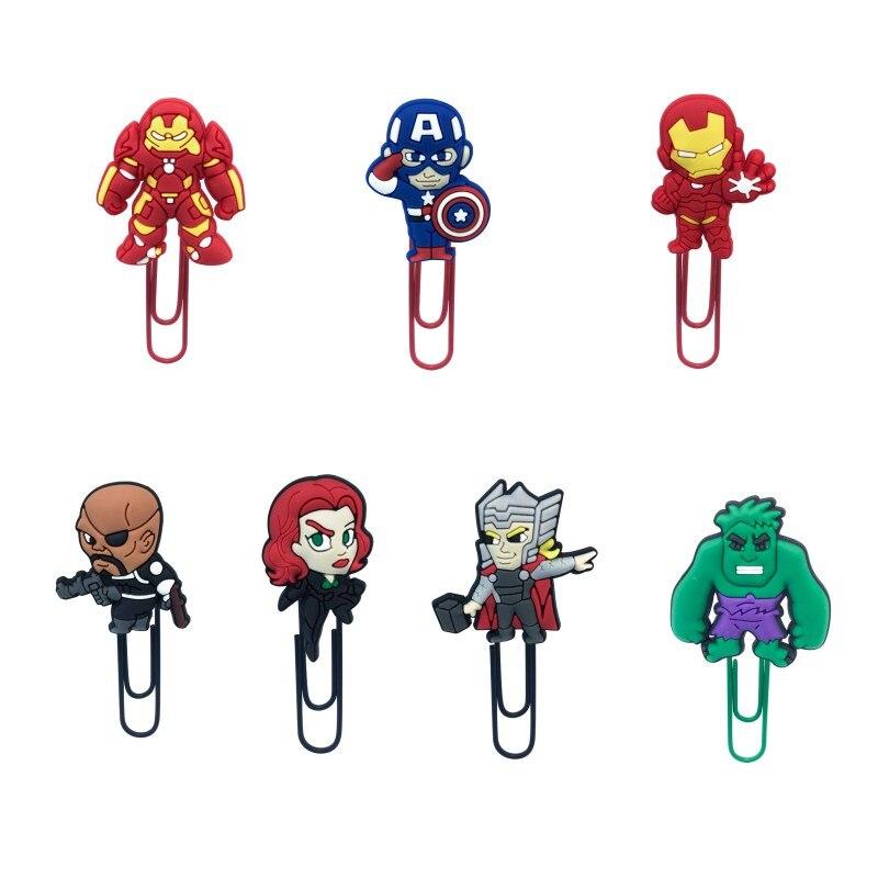7pcs Cartoon Figure Superhero Avenger Iron Man Thor Hulk Bookmark Paper Clips Book Holder Kid Prize Gift School Supplies