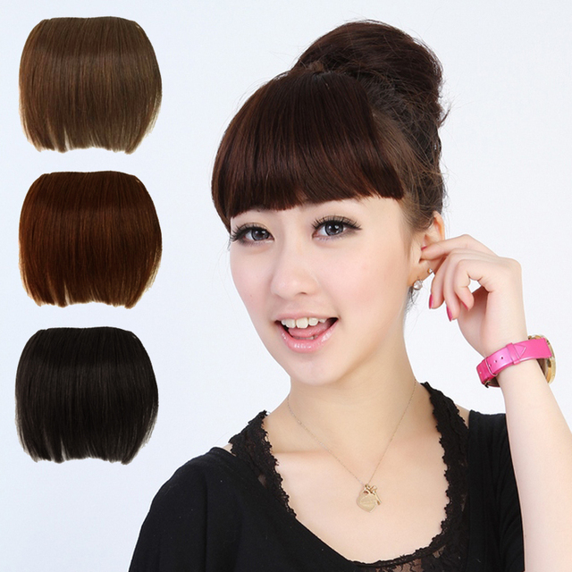 Free Shipping Sexy Women Girl False Human Wig Full Bangs Hair Pieces Extensions Clip in on Girls High Quality Fringe #L04037
