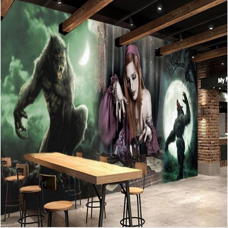 beibehang Large Custom Wallpaper Mural Thriller Moonlight Werewolf KTV Theme Restaurant Dresser Background Wall large mural wallpaper wallpaper theme hotel cafe ktv bar 3d background wall tile mural