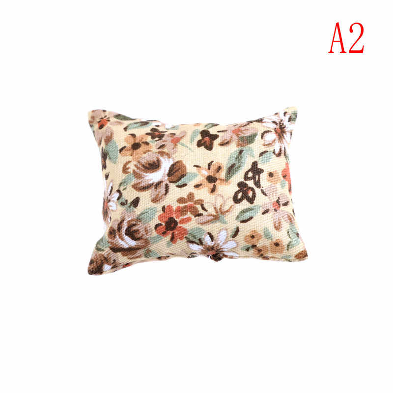 1:12 دمية مصغرة لعب صغيرة أريكة زهرة واحدة وسادة وسادة الأريكة السرير دمية الملحقات نموذج