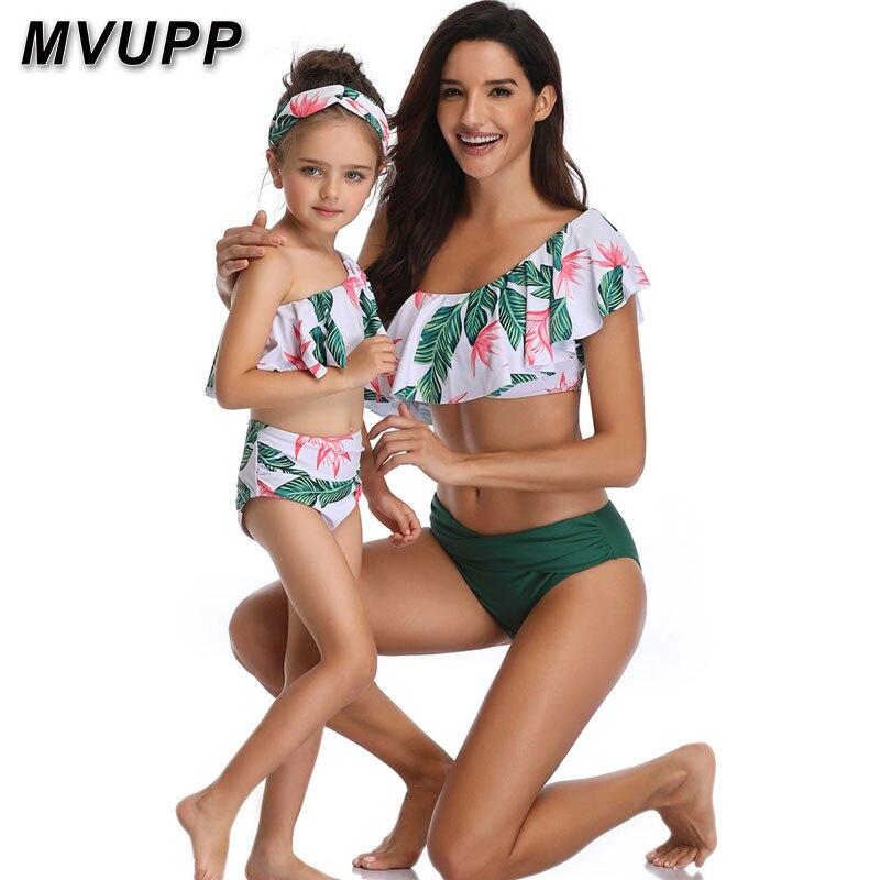 Madre hija traje de baño de la familia juego trajes de baño de mamá y mí ropa mamá bebé bikini mama de cintura alta de verano