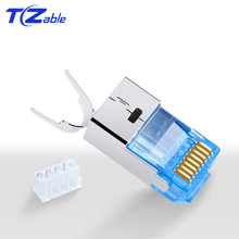 RJ45 10Gbps CAT7 Ethernetสายเคเบิลเครือข่ายอะแดปเตอร์ทองแดงบริสุทธิ์Shieldตัวเชื่อมต่อชุบทอง 50U 8p8cโลหะModularปลั๊ก